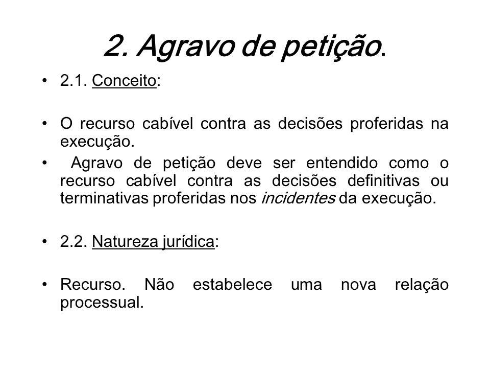2. Agravo de petição. 2.1. Conceito: O recurso cabível contra as decisões proferidas na execução. Agravo de petição deve ser entendido como o recurso