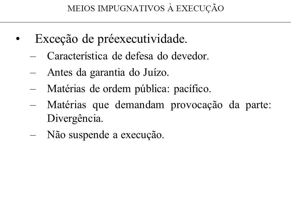 MEIOS IMPUGNATIVOS À EXECUÇÃO Exceção de préexecutividade. –Característica de defesa do devedor. –Antes da garantia do Juízo. –Matérias de ordem públi