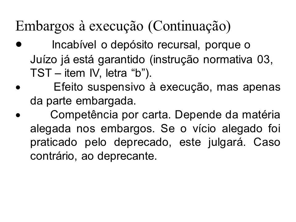 """Embargos à execução (Continuação)  Incabível o depósito recursal, porque o Juízo já está garantido (instrução normativa 03, TST – item IV, letra """"b"""")"""