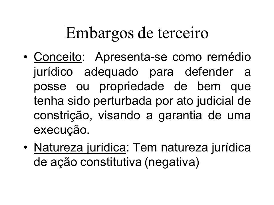 MEIOS IMPUGNATIVOS À EXECUÇÃO Embargos de terceiro.