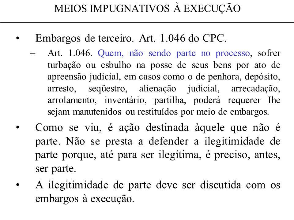 MEIOS IMPUGNATIVOS À EXECUÇÃO Embargos de terceiro. Art. 1.046 do CPC. –Art. 1.046. Quem, não sendo parte no processo, sofrer turbação ou esbulho na p