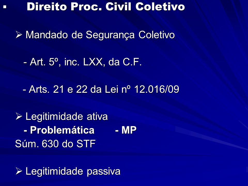  Direito Proc. Civil Coletivo  Mandado de Segurança Coletivo - Art.