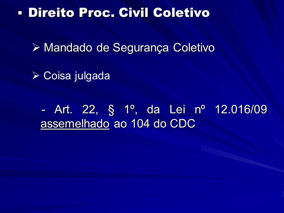  Direito Proc. Civil Coletivo  Mandado de Segurança Coletivo   Coisa julgada - Art.