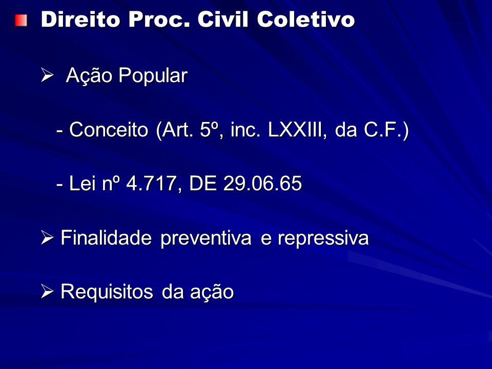 Direito Proc. Civil Coletivo Direito Proc. Civil Coletivo  Ação Popular - Conceito (Art.