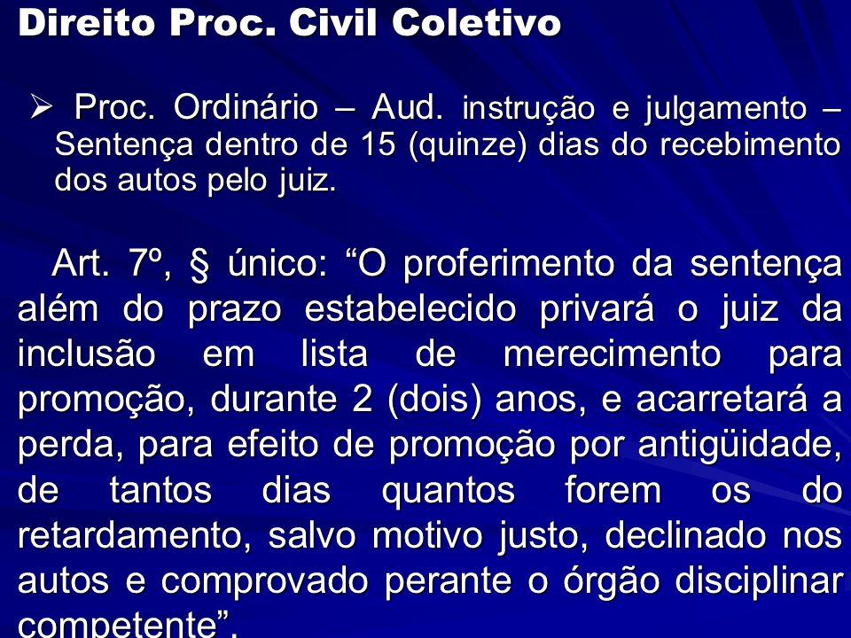  Direito Proc. Civil Coletivo  Proc. Ordinário – Aud.