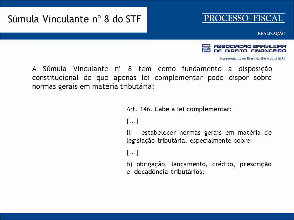 A Súmula Vinculante nº 8 tem como fundamento a disposição constitucional de que apenas lei complementar pode dispor sobre normas gerais em matéria tri
