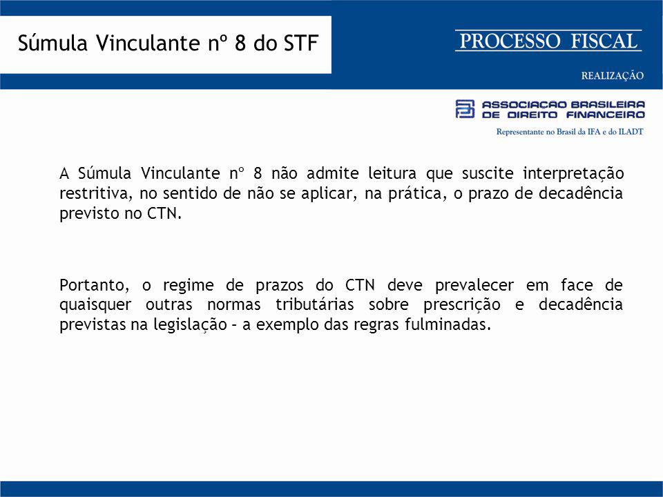 A Súmula Vinculante nº 8 não admite leitura que suscite interpretação restritiva, no sentido de não se aplicar, na prática, o prazo de decadência prev