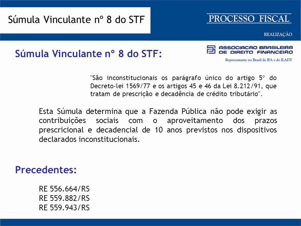 Súmula Vinculante nº 8 do STF Súmula Vinculante nº 8 do STF: