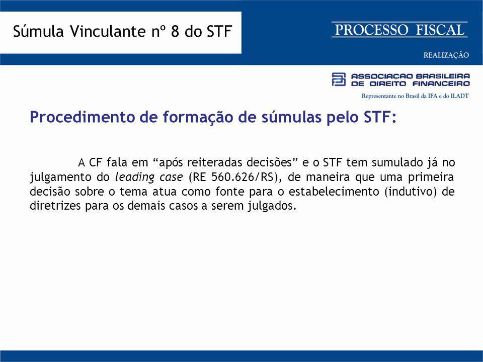 """Procedimento de formação de súmulas pelo STF: A CF fala em """"após reiteradas decisões"""" e o STF tem sumulado já no julgamento do leading case (RE 560.62"""