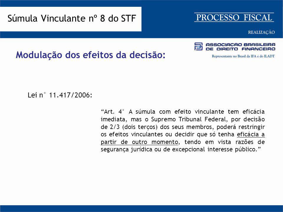 """Modulação dos efeitos da decisão: Lei n° 11.417/2006: """"Art. 4° A súmula com efeito vinculante tem eficácia imediata, mas o Supremo Tribunal Federal, p"""