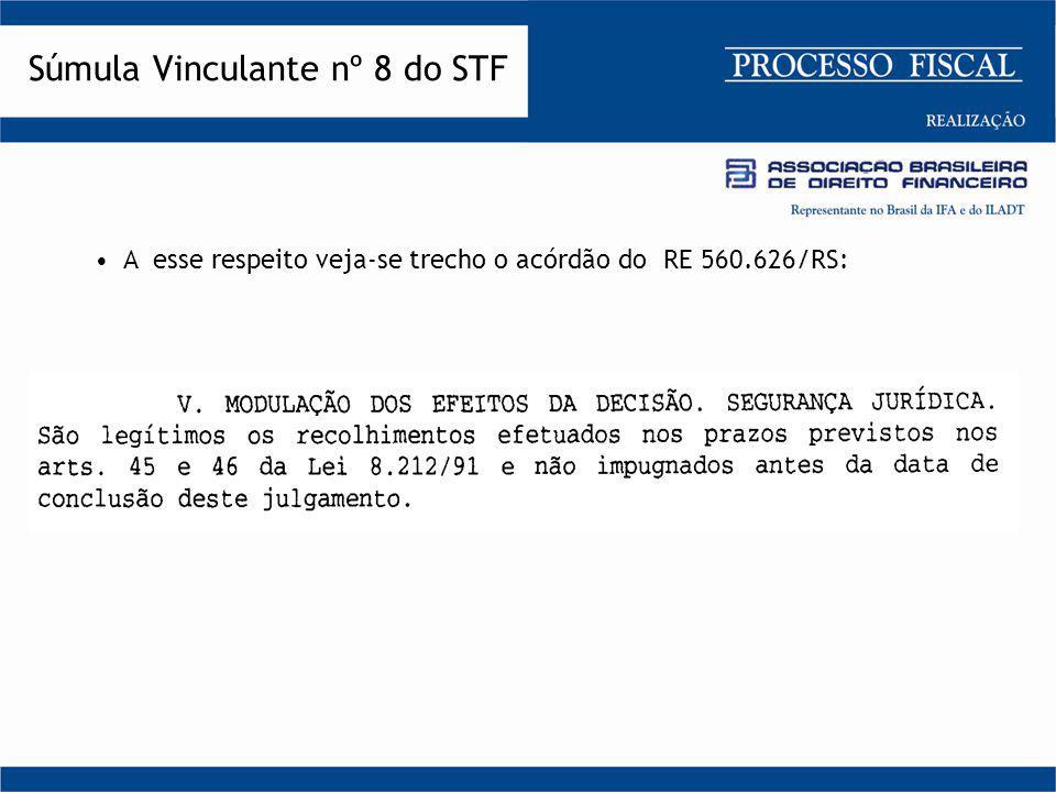 O Min. rel. Gilmar Mendes proferiu o seguinte voto: Súmula Vinculante nº 8 do STF