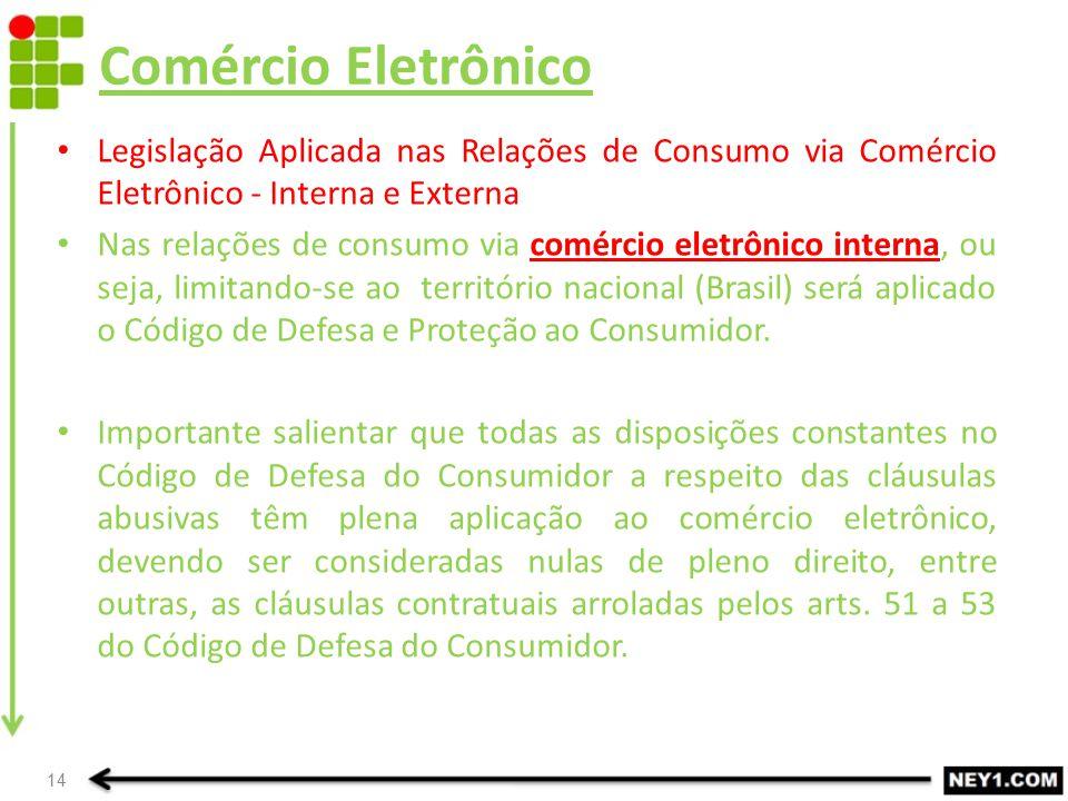 Comércio Eletrônico Legislação Aplicada nas Relações de Consumo via Comércio Eletrônico - Interna e Externa Nas relações de consumo via comércio eletr