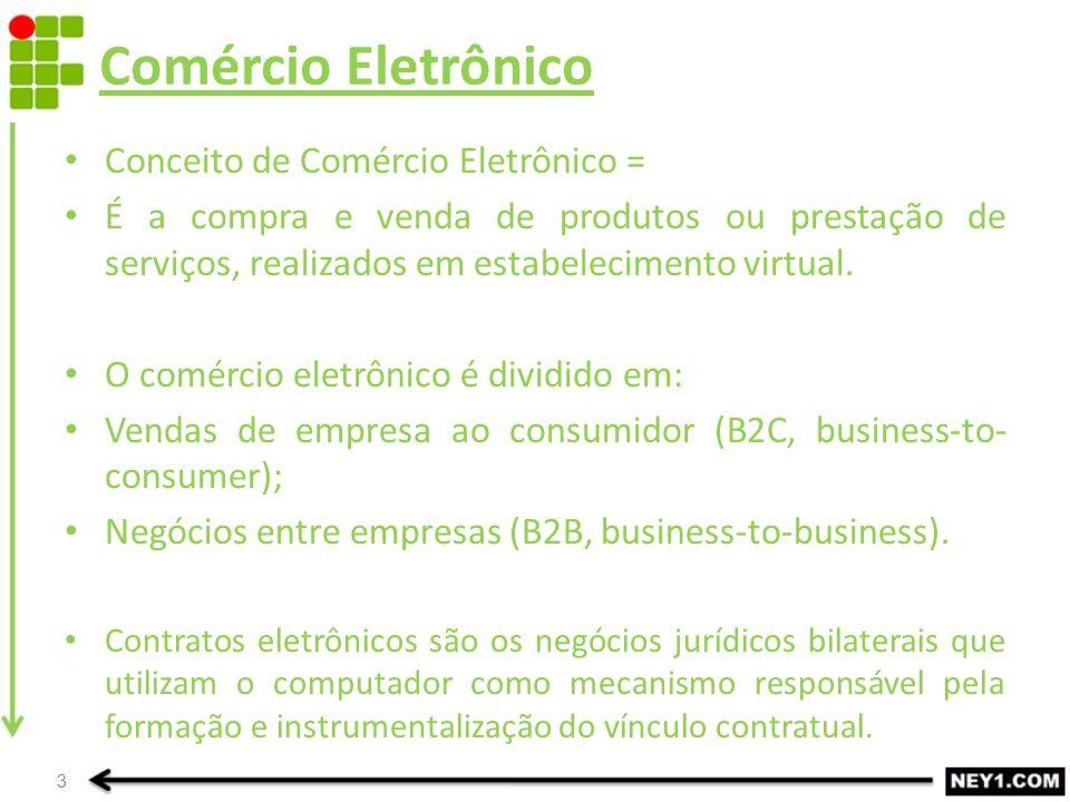 Comércio Eletrônico Conceito de Comércio Eletrônico = É a compra e venda de produtos ou prestação de serviços, realizados em estabelecimento virtual.