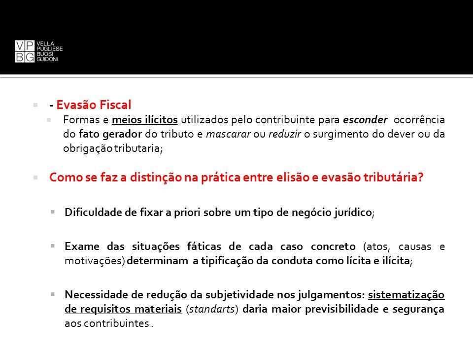  - Evasão Fiscal  Formas e meios ilícitos utilizados pelo contribuinte para esconder ocorrência do fato gerador do tributo e mascarar ou reduzir o s