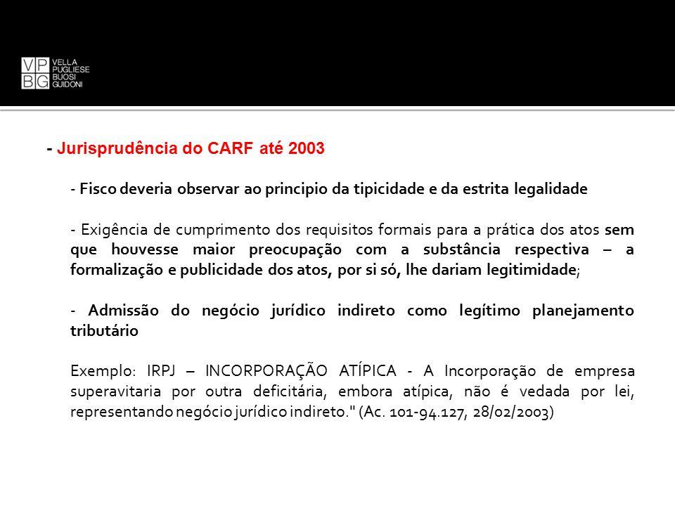 - Jurisprudência do CARF até 2003 - Fisco deveria observar ao principio da tipicidade e da estrita legalidade - Exigência de cumprimento dos requisito