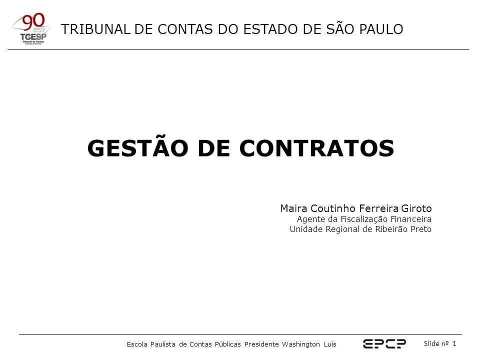 TRIBUNAL DE CONTAS DO ESTADO DE SÃO PAULO Escola Paulista de Contas Públicas Presidente Washington Luís Slide nº 1 GESTÃO DE CONTRATOS Maira Coutinho
