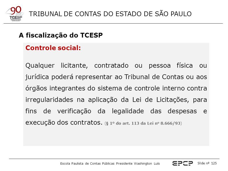 TRIBUNAL DE CONTAS DO ESTADO DE SÃO PAULO Escola Paulista de Contas Públicas Presidente Washington Luís Slide nº 125 A fiscalização do TCESP Controle