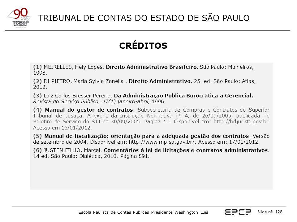 TRIBUNAL DE CONTAS DO ESTADO DE SÃO PAULO Escola Paulista de Contas Públicas Presidente Washington Luís Slide nº 128 CRÉDITOS (1) MEIRELLES, Hely Lope