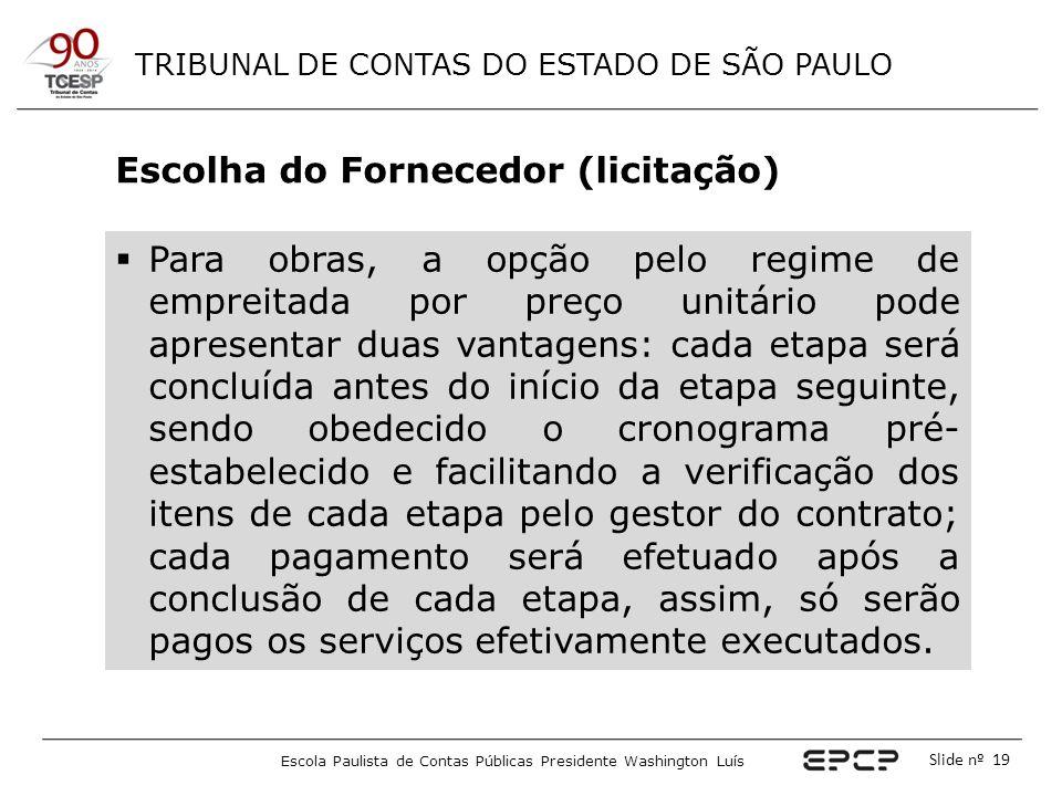 TRIBUNAL DE CONTAS DO ESTADO DE SÃO PAULO Escola Paulista de Contas Públicas Presidente Washington Luís Slide nº 19 Escolha do Fornecedor (licitação)