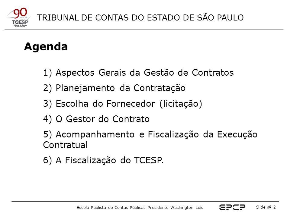 TRIBUNAL DE CONTAS DO ESTADO DE SÃO PAULO Escola Paulista de Contas Públicas Presidente Washington Luís Slide nº 2 Agenda 1) Aspectos Gerais da Gestão