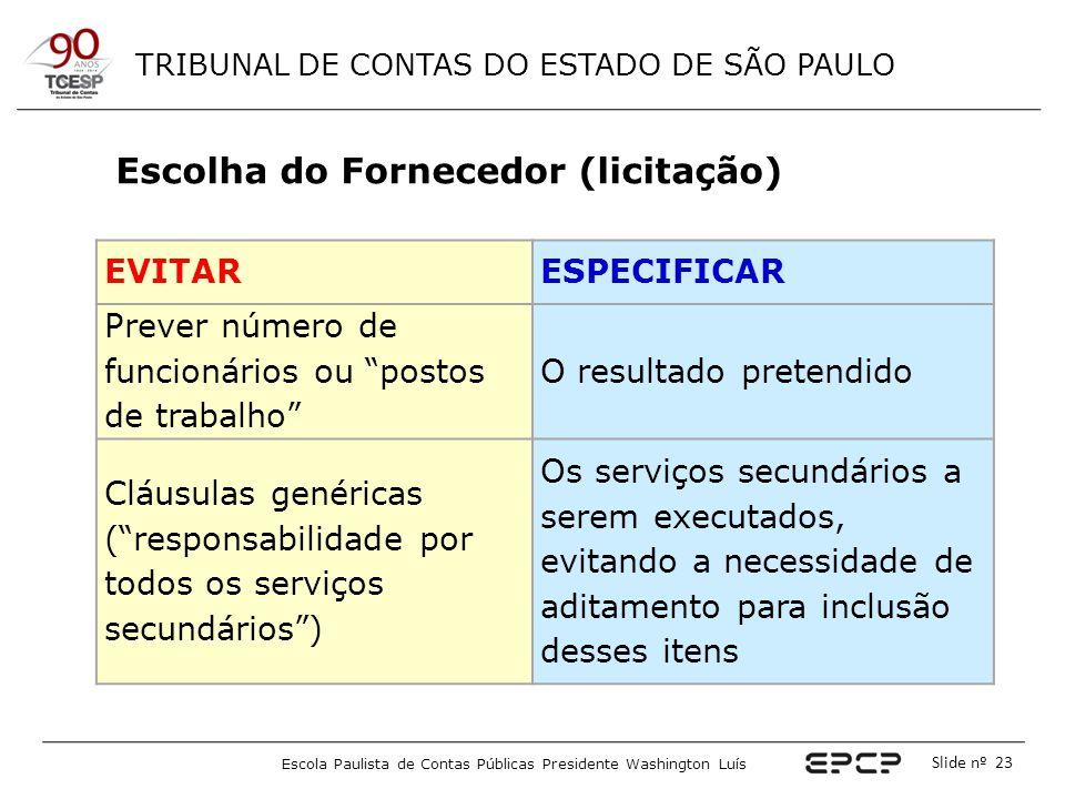 TRIBUNAL DE CONTAS DO ESTADO DE SÃO PAULO Escola Paulista de Contas Públicas Presidente Washington Luís Slide nº 23 EVITARESPECIFICAR Prever número de