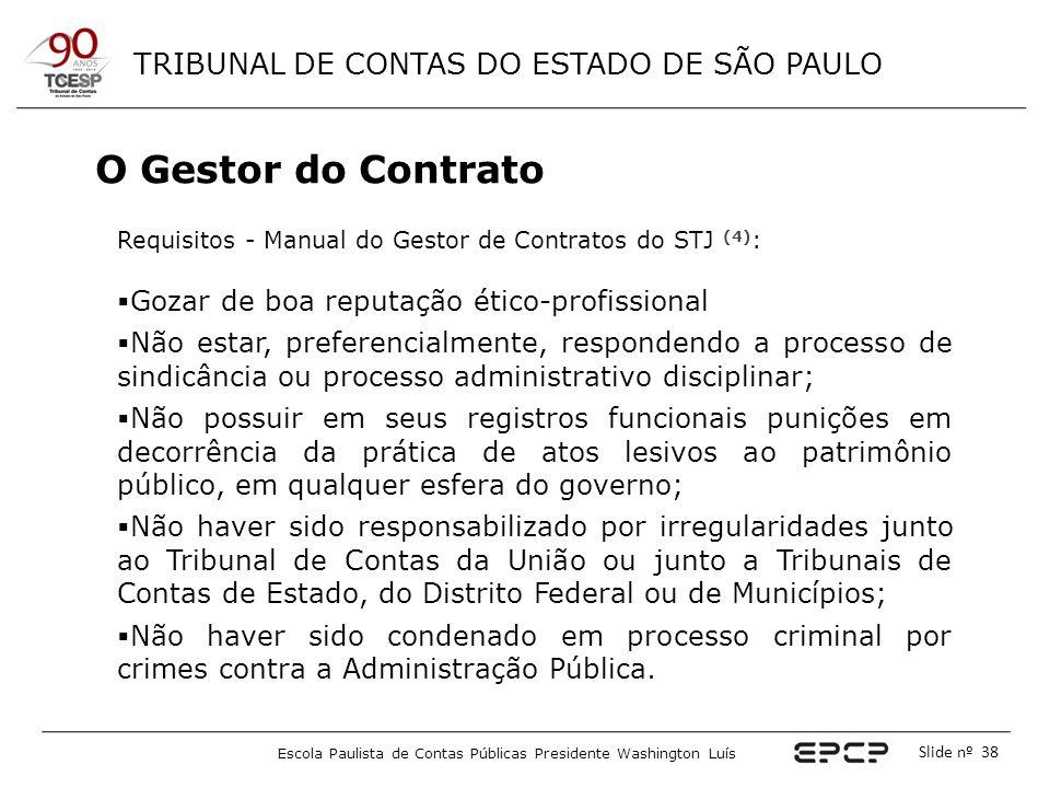 TRIBUNAL DE CONTAS DO ESTADO DE SÃO PAULO Escola Paulista de Contas Públicas Presidente Washington Luís Slide nº 38 O Gestor do Contrato Requisitos -
