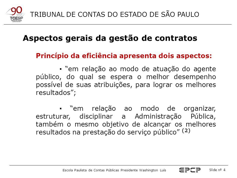 TRIBUNAL DE CONTAS DO ESTADO DE SÃO PAULO Escola Paulista de Contas Públicas Presidente Washington Luís Slide nº 55 O Gestor do Contrato Responsabilização dos gestores - TCU FISCALIZAÇÃO DE CONTRATOS: NO CASO DE EXECUÇÃO IRREGULAR, A AUSÊNCIA DE PROVIDÊNCIAS TEMPESTIVAS POR PARTE DOS RESPONSÁVEIS PELO ACOMPANHAMENTO DO CONTRATO PODE LEVAR À IMPUTAÇÃO DE RESPONSABILIDADE, COM APLICAÇÃO DAS SANÇÕES REQUERIDAS.