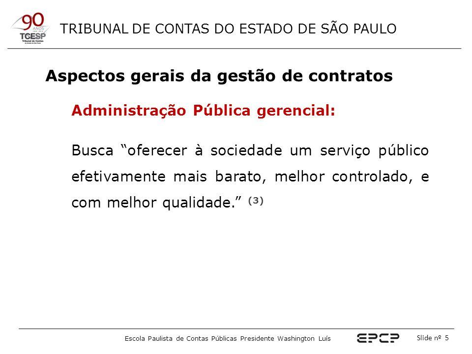 TRIBUNAL DE CONTAS DO ESTADO DE SÃO PAULO Escola Paulista de Contas Públicas Presidente Washington Luís Slide nº 6 Gestão de contratos é o acompanhamento e a fiscalização, pela Administração, da execução de todos os seus contratos.