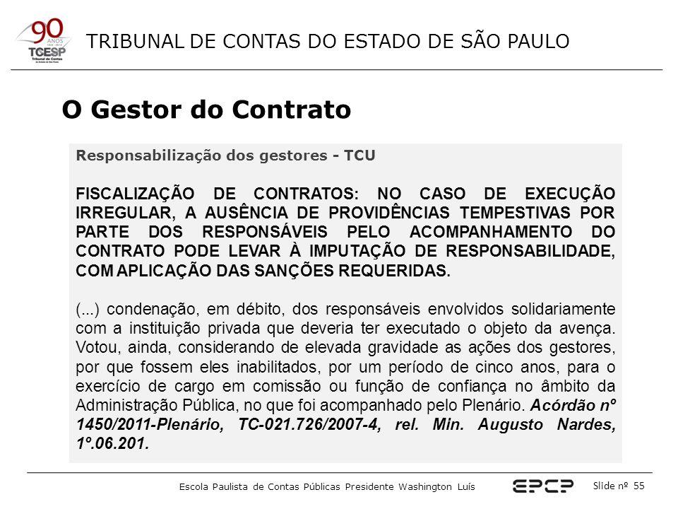 TRIBUNAL DE CONTAS DO ESTADO DE SÃO PAULO Escola Paulista de Contas Públicas Presidente Washington Luís Slide nº 55 O Gestor do Contrato Responsabiliz