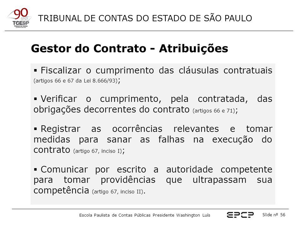 TRIBUNAL DE CONTAS DO ESTADO DE SÃO PAULO Escola Paulista de Contas Públicas Presidente Washington Luís Slide nº 56 Gestor do Contrato - Atribuições 