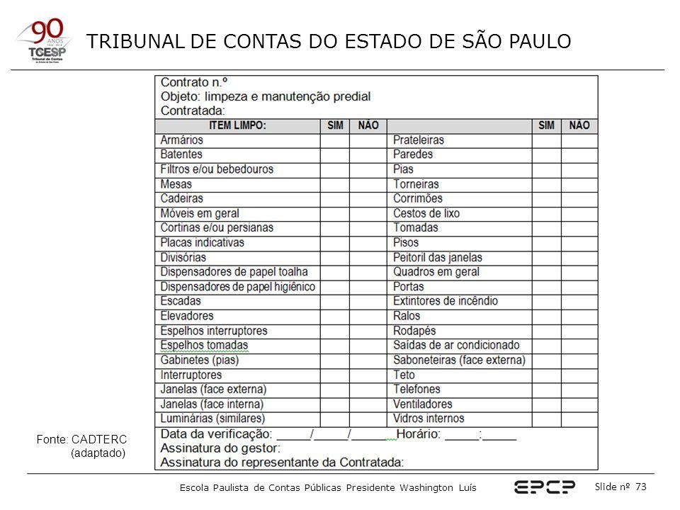TRIBUNAL DE CONTAS DO ESTADO DE SÃO PAULO Escola Paulista de Contas Públicas Presidente Washington Luís Slide nº 73 Fonte: CADTERC (adaptado)