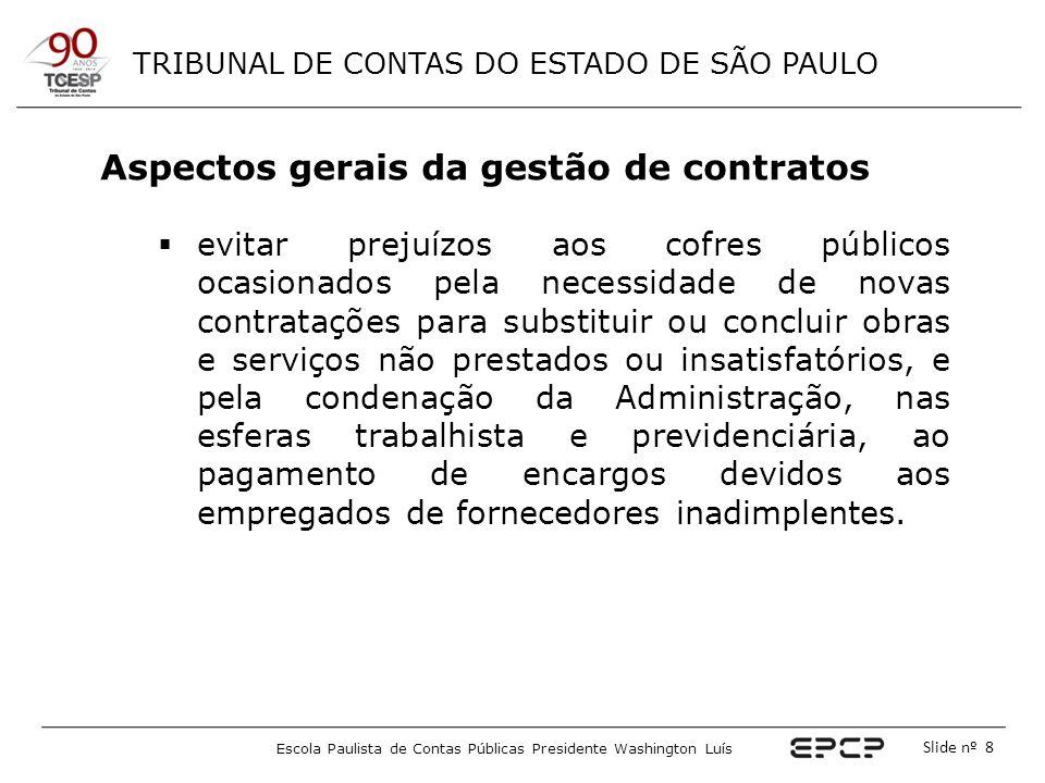 TRIBUNAL DE CONTAS DO ESTADO DE SÃO PAULO Escola Paulista de Contas Públicas Presidente Washington Luís Slide nº 49 O Gestor do Contrato Exemplo de check list para acompanhamento contratual* * ADAPTADO DO MODELO SUGERIDO NO ANEXO II DO MANUAL DE FISCALIZAÇÃO ELABORADO PELA DIRETORIA GERAL DO MINISTÉRIO PÚBLICO DO ESTADO DE SÃO PAULO.