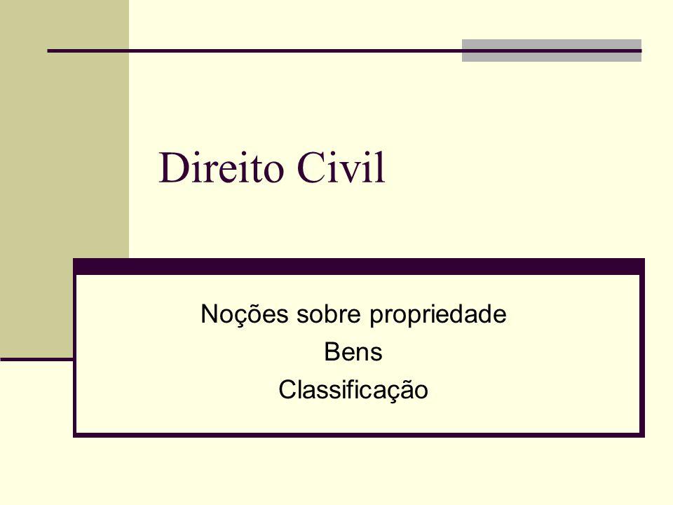 Direito Civil Noções sobre propriedade Bens Classificação