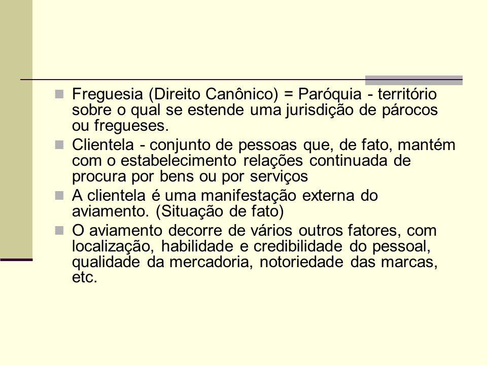 Freguesia (Direito Canônico) = Paróquia - território sobre o qual se estende uma jurisdição de párocos ou fregueses. Clientela - conjunto de pessoas q