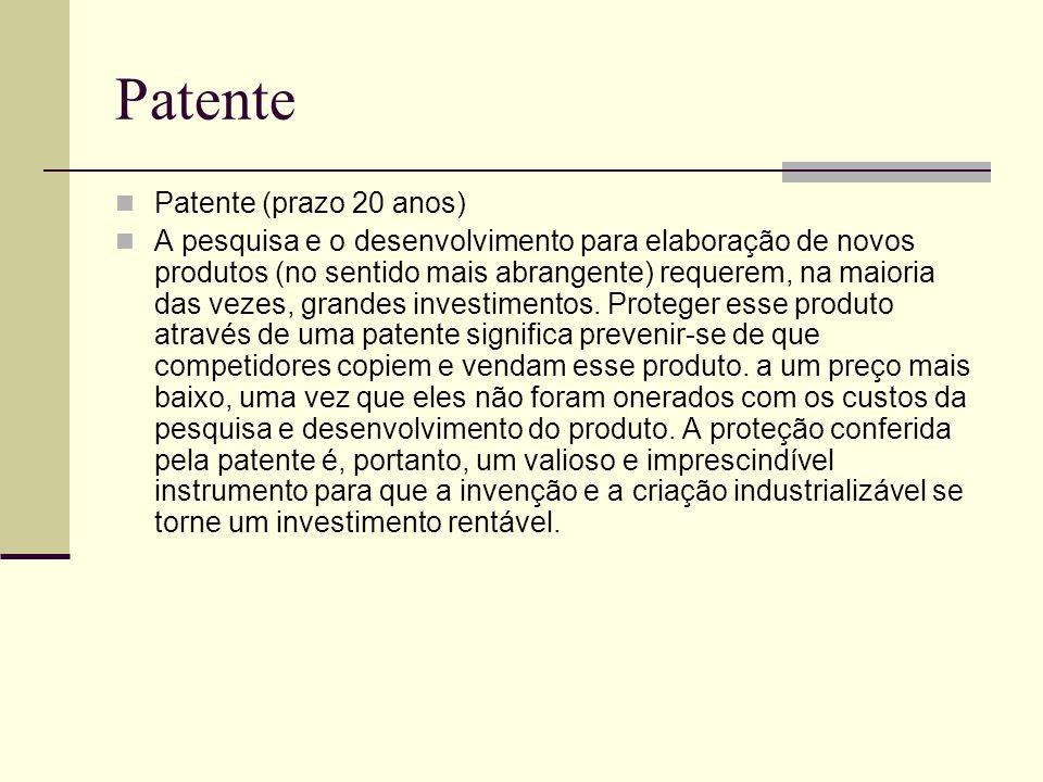 Patente Patente (prazo 20 anos) A pesquisa e o desenvolvimento para elaboração de novos produtos (no sentido mais abrangente) requerem, na maioria das vezes, grandes investimentos.