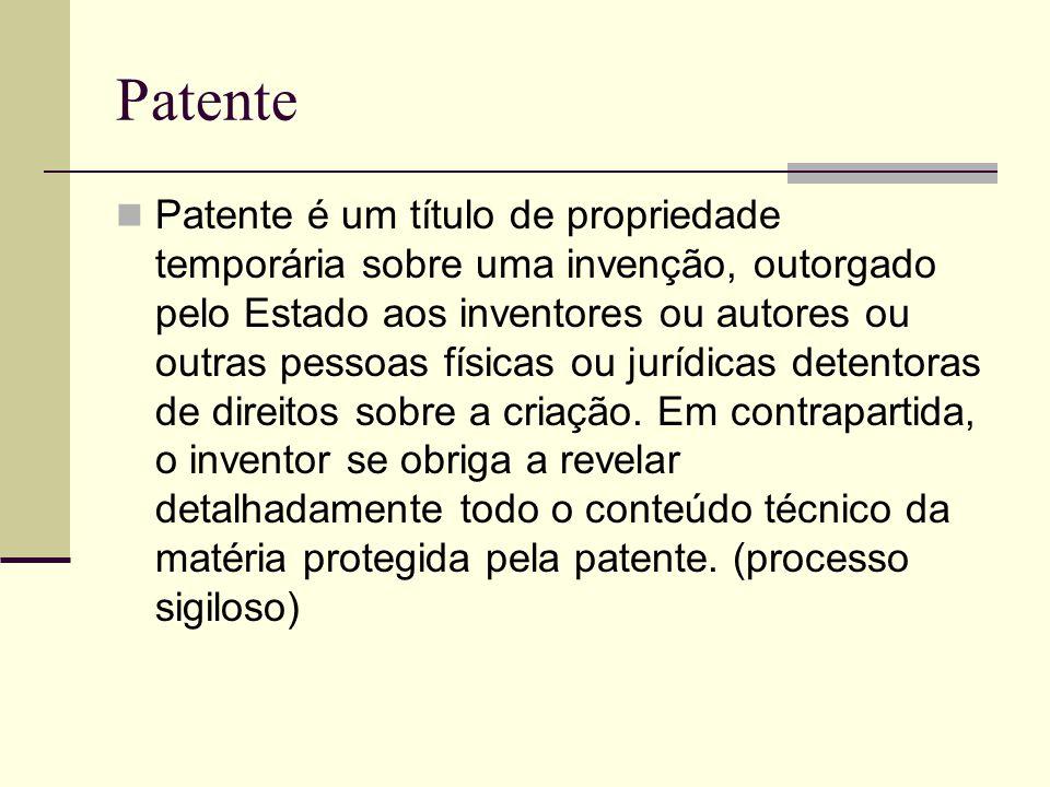 Patente Patente é um título de propriedade temporária sobre uma invenção, outorgado pelo Estado aos inventores ou autores ou outras pessoas físicas ou jurídicas detentoras de direitos sobre a criação.