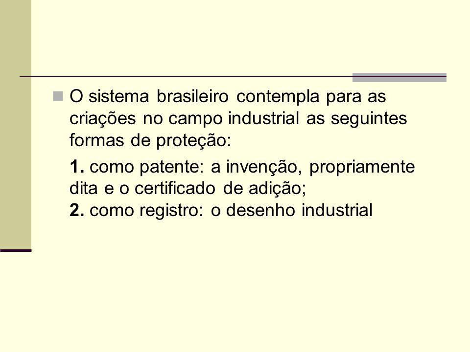 O sistema brasileiro contempla para as criações no campo industrial as seguintes formas de proteção: 1. como patente: a invenção, propriamente dita e