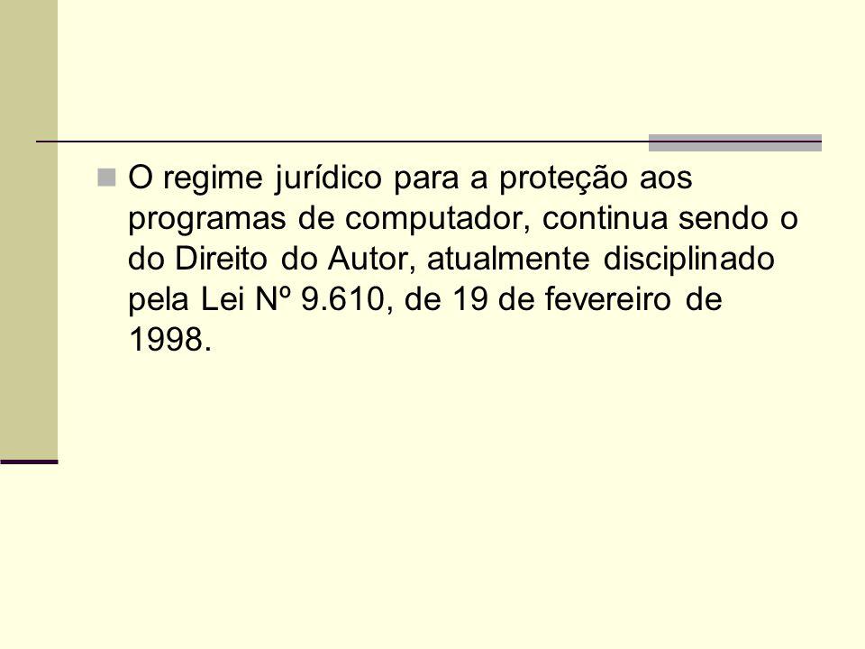 O regime jurídico para a proteção aos programas de computador, continua sendo o do Direito do Autor, atualmente disciplinado pela Lei Nº 9.610, de 19 de fevereiro de 1998.