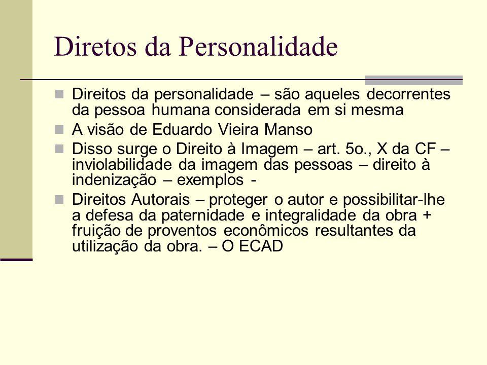 Diretos da Personalidade Direitos da personalidade – são aqueles decorrentes da pessoa humana considerada em si mesma A visão de Eduardo Vieira Manso Disso surge o Direito à Imagem – art.