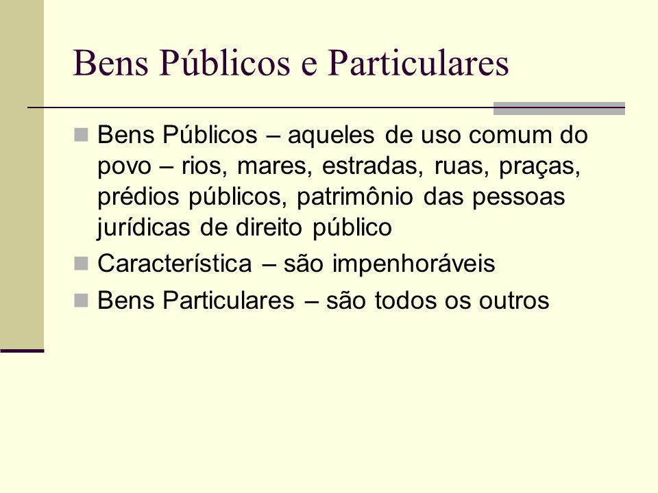 Bens Públicos e Particulares Bens Públicos – aqueles de uso comum do povo – rios, mares, estradas, ruas, praças, prédios públicos, patrimônio das pess