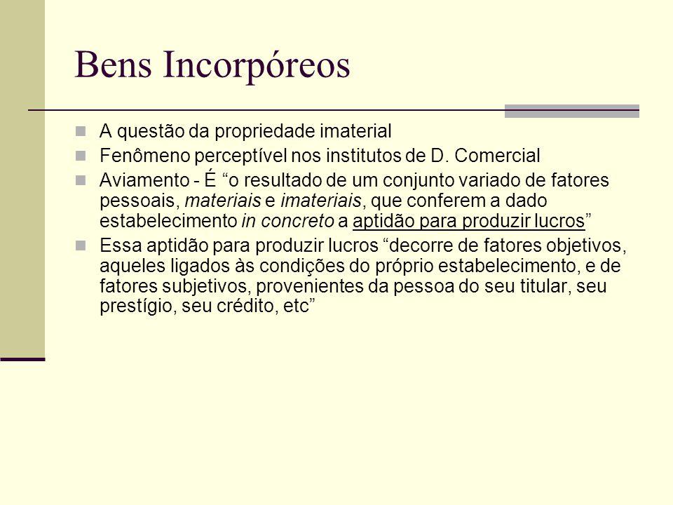 """Bens Incorpóreos A questão da propriedade imaterial Fenômeno perceptível nos institutos de D. Comercial Aviamento - É """"o resultado de um conjunto vari"""
