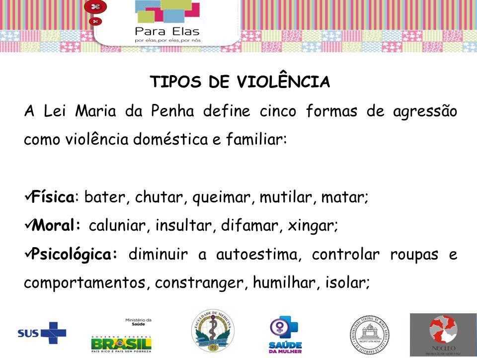 TIPOS DE VIOLÊNCIA A Lei Maria da Penha define cinco formas de agressão como violência doméstica e familiar: Física: bater, chutar, queimar, mutilar,