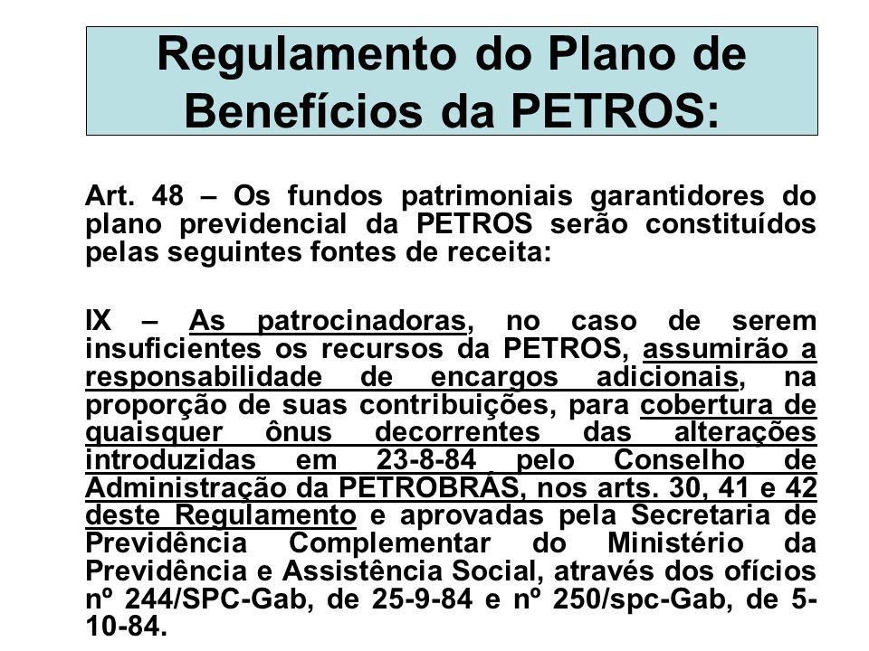Regulamento do Plano de Benefícios da PETROS: Art. 48 – Os fundos patrimoniais garantidores do plano previdencial da PETROS serão constituídos pelas s