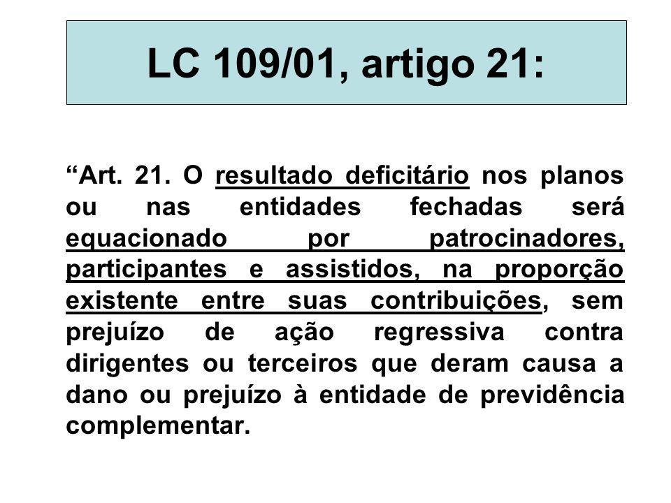 """LC 109/01, artigo 21: """"Art. 21. O resultado deficitário nos planos ou nas entidades fechadas será equacionado por patrocinadores, participantes e assi"""
