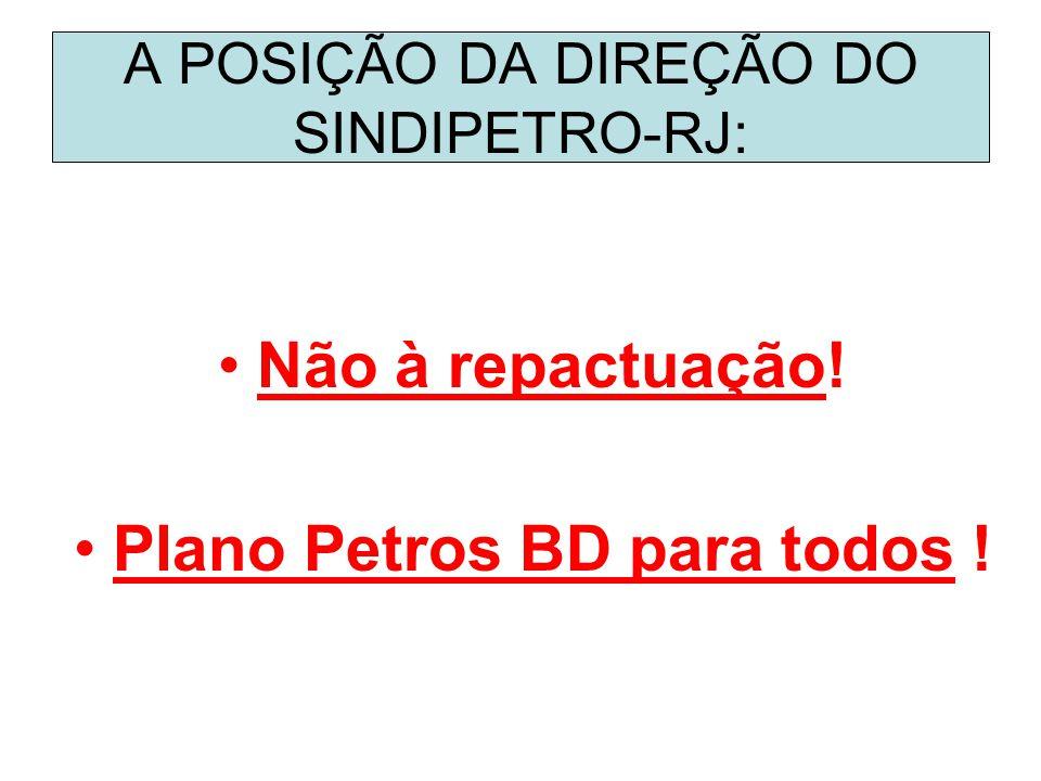 A POSIÇÃO DA DIREÇÃO DO SINDIPETRO-RJ: Não à repactuação! Plano Petros BD para todos !