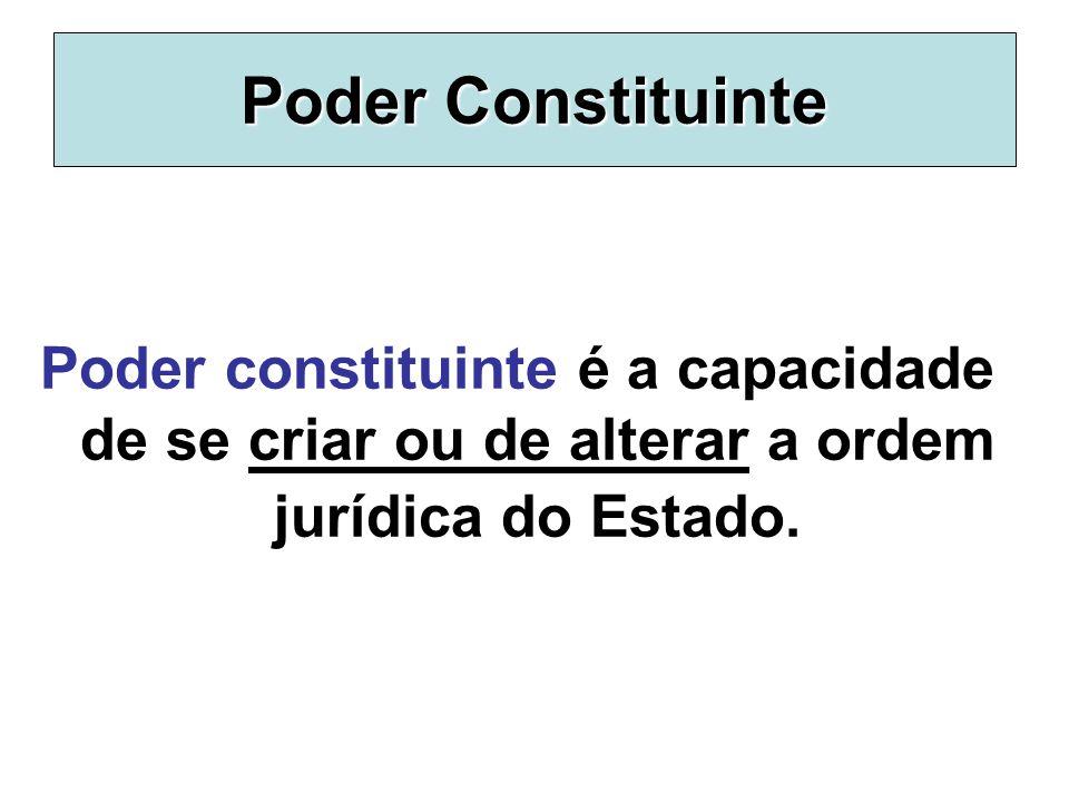 Poder Constituinte Poder constituinte é a capacidade de se criar ou de alterar a ordem jurídica do Estado.