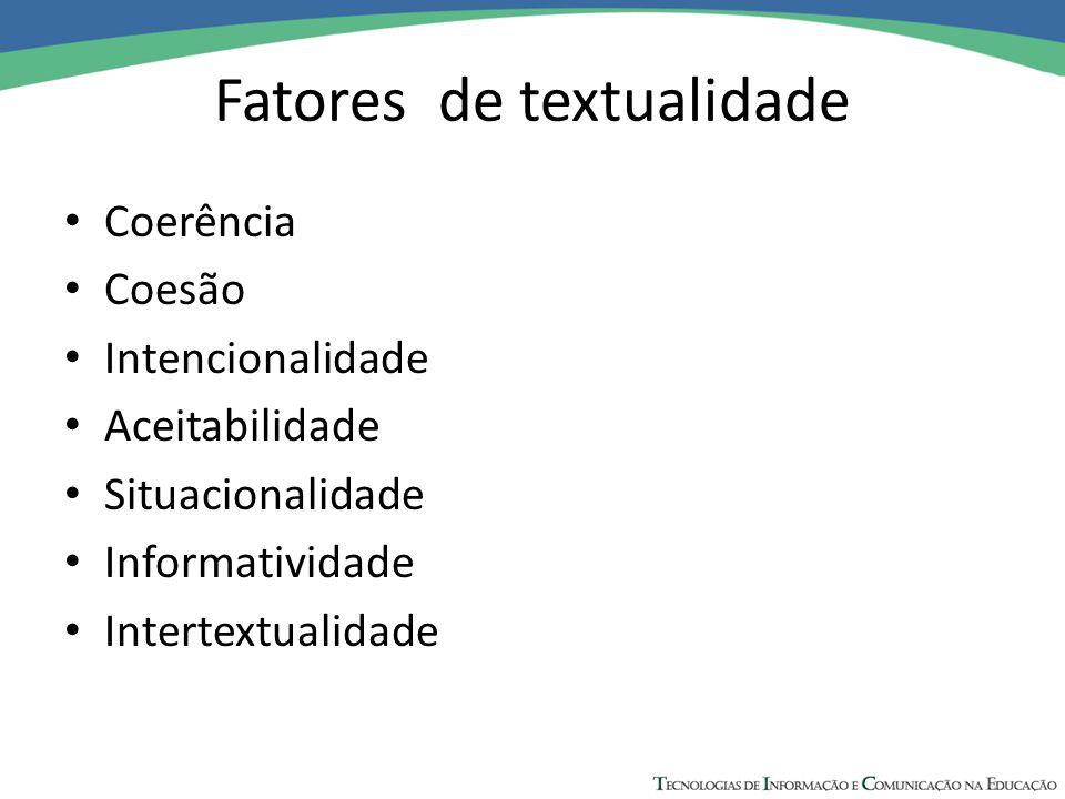 Fatores de textualidade Coerência Coesão Intencionalidade Aceitabilidade Situacionalidade Informatividade Intertextualidade