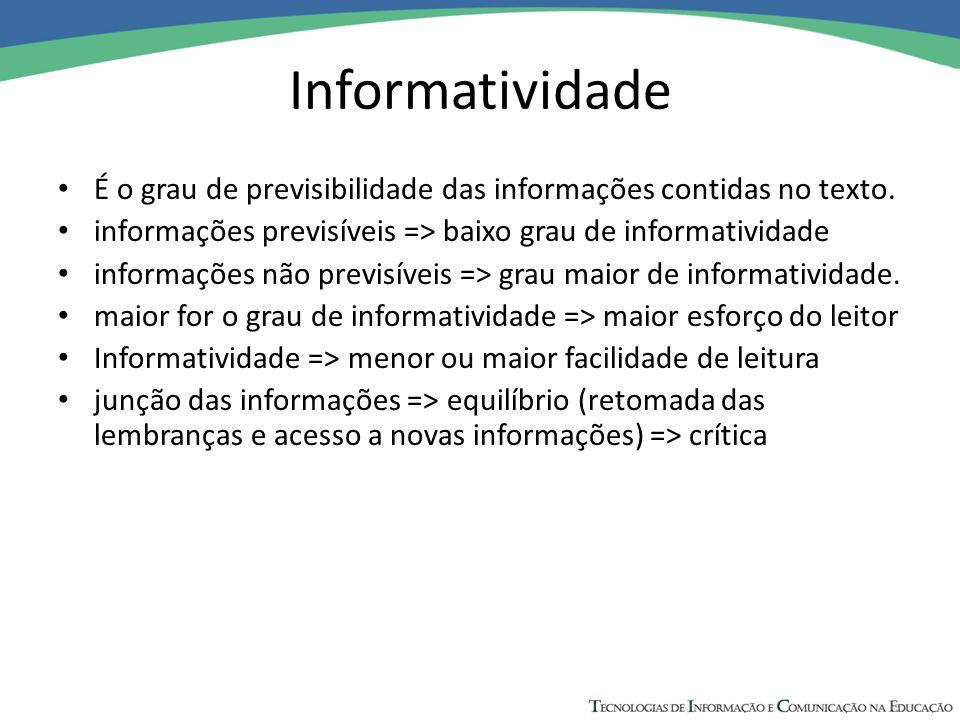 Informatividade É o grau de previsibilidade das informações contidas no texto. informações previsíveis => baixo grau de informatividade informações nã