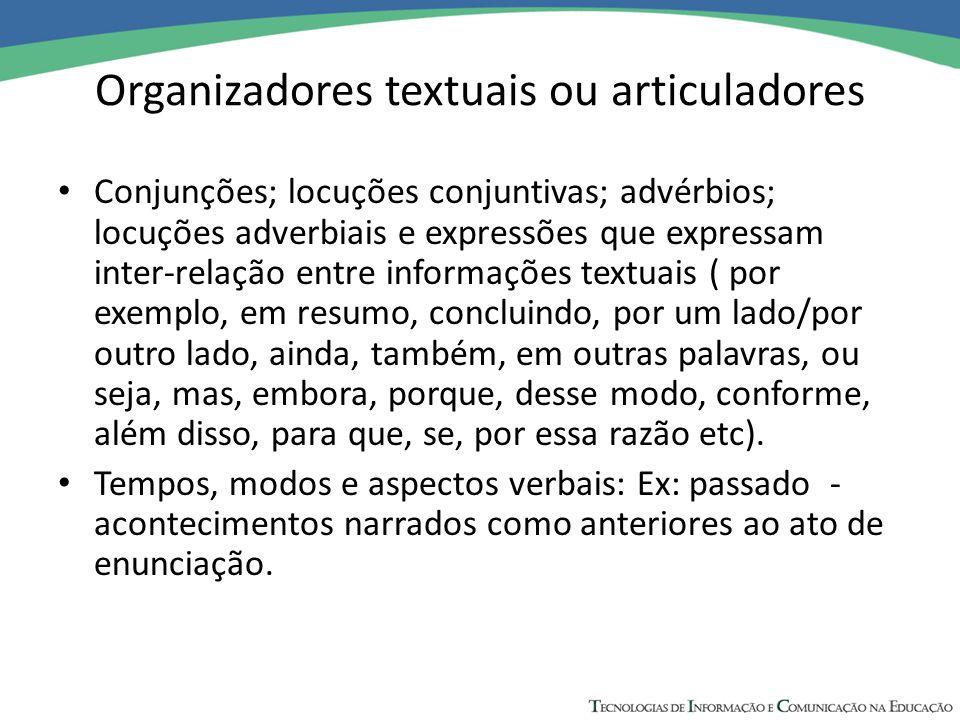 Organizadores textuais ou articuladores Conjunções; locuções conjuntivas; advérbios; locuções adverbiais e expressões que expressam inter-relação entr