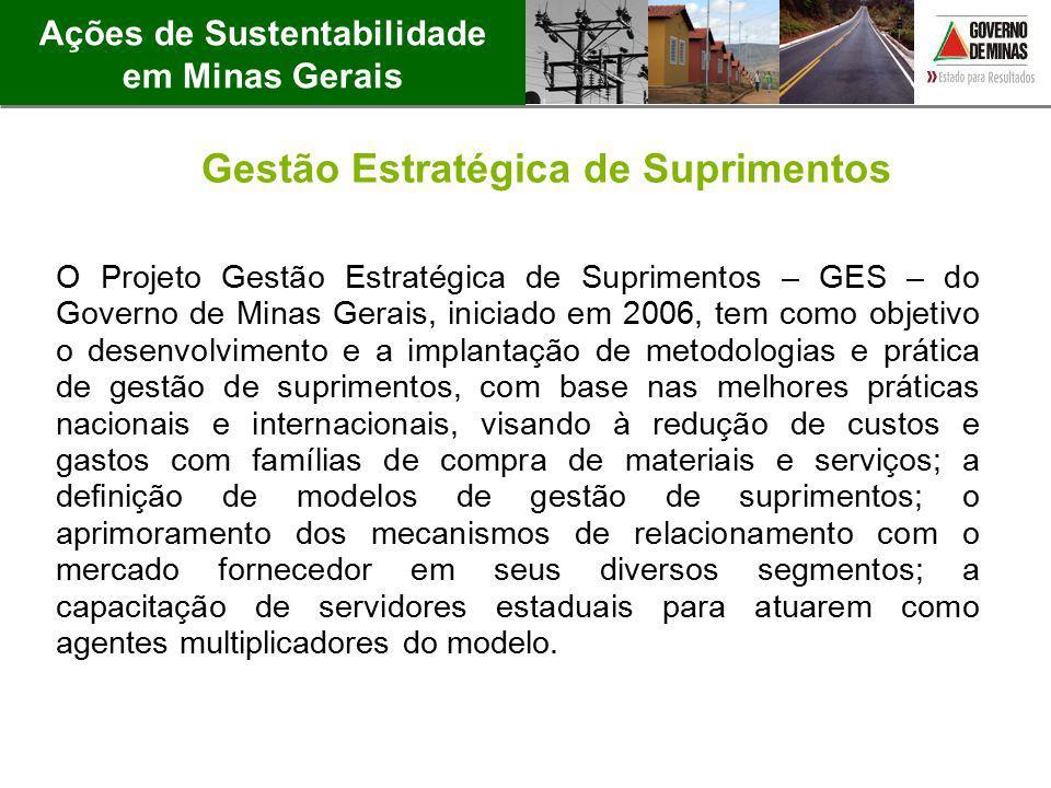 Ações de Sustentabilidade em Minas Gerais Gestão Estratégica de Suprimentos O Projeto Gestão Estratégica de Suprimentos – GES – do Governo de Minas Ge